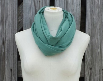 SALE - Light Green Infinity Scarf - Petite Green Scarf - Adults and Kids Scarf