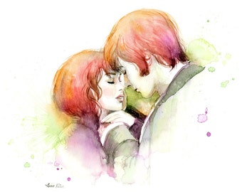 Watercolor painting - Couple in Love - Pride and Prejudice Movie poster inspired