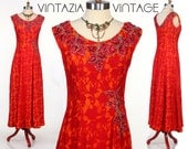 Vintage 50s Bold Red & Orange Lace Sequin Beaded Maxi Party Dress