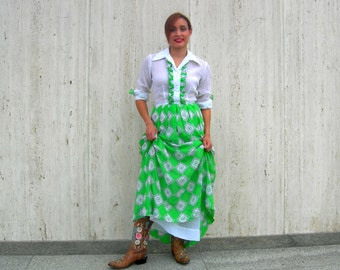 Vintage white and green prairie dress