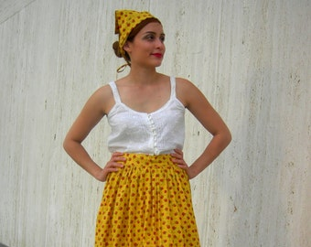 Vintage head scarf and apron costume
