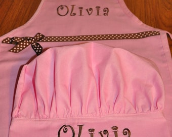 Kids Apron and Chef Hat Handmade with Embroidered name or design