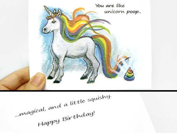 funny card unicorn poop happy birthday card thank you card, Birthday card