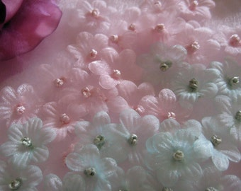 Pink, Mint Organza Flowers French Knot center for Sewing, Crafting, Doll Clothing, Wedding Favors, Embellishment- 1 inch/25 mm, 30 pieces