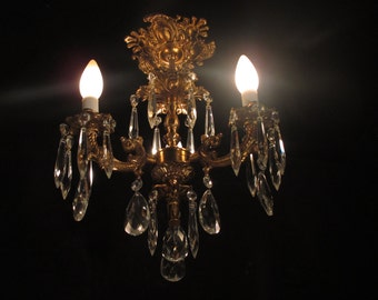 Petite lighting fixture chandelier solid bronze and chrystal drops for closets or small spaces by Sergio Merlin