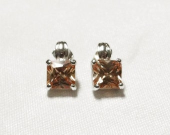 Citrine Earrings - Genuine Citrine - 4 Carats Total Weight - Sterling Silver - Vintage