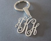 White Gold Monogram Keychain - 3 different pendant sizes