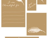 Thanksgiving Printable Set Give Thanks Feather Collection