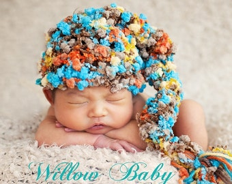 Baby Boy Hat - Baby Hat - Baby Stocking Hat - Texuted Pom Pom Hat in Turqoise, Cafe, Orange and Yellow LOOK MORE COLORS