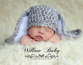 Hoppy Easter!  Baby Hat - Baby Bunny Hat with Big Floppy Ears - Grey and White