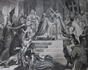 "Antique 1800s Photogravure, ""The Coronation of Charlemagne"""