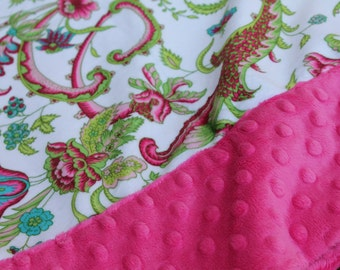 Travel Pillowcase - Sweet Pea Print Minky with Hot Pink Dimple Dot Minky Border - great for a Toddler or Travel Pillow