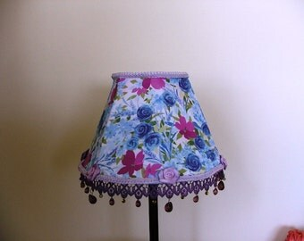 Lavender  Floral  Table Lamp With Painted Purple lace and Teardrop  Glass Beads - Shabby Chic style
