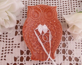 Wedding Ring Bearer Rustic Burnt Orange Ceramic Owl Country Barnyard Ranch Fall Autumn Wedding Decoration