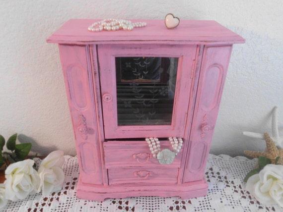 Pink Jewelry Box Rustic Shabby Chic French by ElegantSeashore