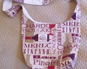 Wine Lovers Cross Body  Sling Bag, Bicycling Cross Body Bag, Sling Tote, Hobo bag, Shoulder Sling Market Tote, Cotton Duck Lining