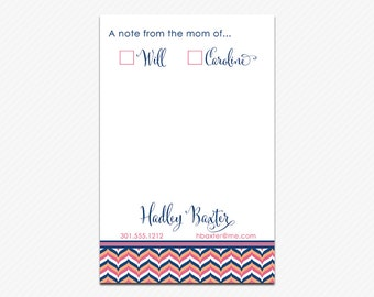 Personalized MOM NOTEPAD, Pointed Chevron - printed pads by Libby Lane Press