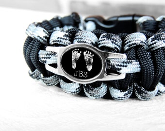 CUSTOM Paracord Bracelet - Footprint Bracelet  Footprint Jewelry- Infant Loss - Baby Footprints - Father's Day - Daddy Bracelet - New Dad
