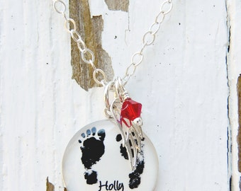 Mother's Necklace - Angel Baby - Baby Footprints - Baby Footprint - Footprint Necklace - Memorial Necklace - Infant Loss - Mothers Day