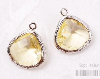 F100-S-LE// Rhodium Framed Lemon Faceted Glass Stone Pendant, 2 pcs