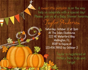 Rustic Fall Pumpkin Baby Shower Invitation Printable Wood Design