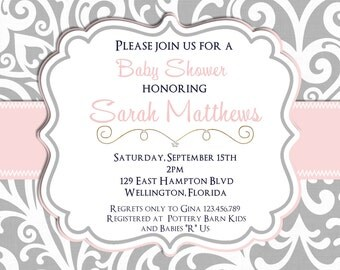 Mod Damask Pink and Gray  Baby or Bridal Shower Invitation Printable Invite