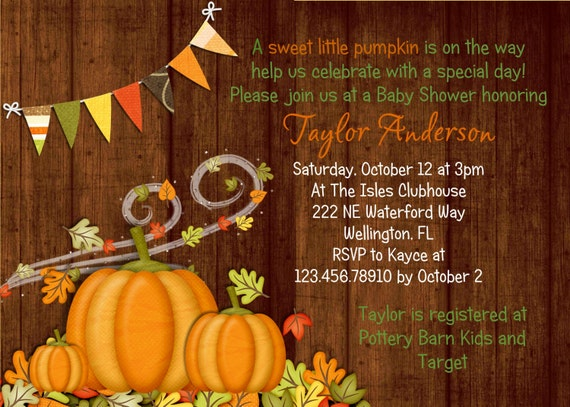 Pumpkin Baby Shower Invitation - Fall Baby Shower Invitation - Little Pumpkin Printable Invite