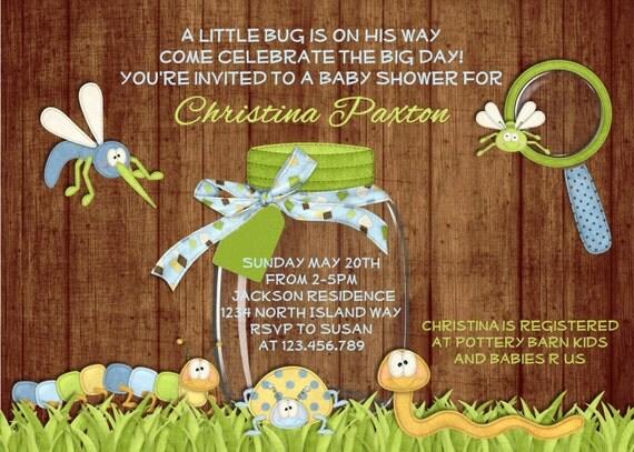 Rustic Bug Boy Baby Shower Invitation