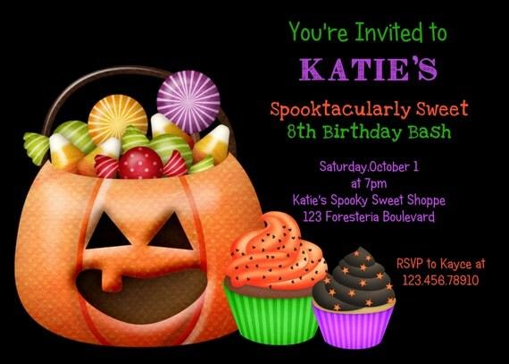 Halloween Candy Cupcake Birthday Invitation