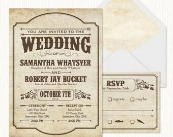 Western Playbill Wedding Invitation Set  PRINTABLE