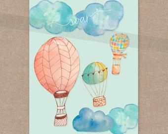 INSTANT DOWNLOAD Soar Print -  hot air balloon 8x10 wall art decor