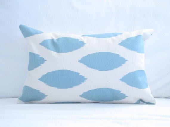 lumbar pillow cover blue chair pillow 12x18 inch decorative pillow