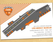 Aircraft Carrier Birthday Invitation - Your Choice of Colors