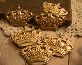 Crown King Queen Raw Brass Stamping Metal Findings Jewelry Supplies Raw Brass Stamping Mix Media Collage Altered Art Jewelry Supplies 2pcs