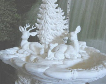Awesome, Deer with Fawn,Deer Scene, fountain, Wildlife scene, Buck and Doe, nature scene, Forest, Ready to paint, u-paint, Ceramic bisque