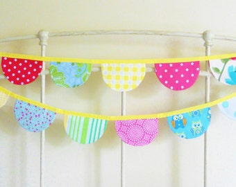 Colorful Scalloped Bunting Banner Fabric Flags - Bright and Cheery - Girl's Room Decor, Birthday Party, Photo Prop