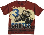 Boys Monster Truck Shirt, Personalized Red and Blue Monster Truck Birthday T-Shirt, Top