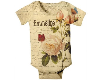 Baby Girl Bodysuit - Personalized French Rose Botanical, Custom Infant One-Piece