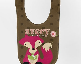 Girl's Fox Baby Bib, Personalized Baby Bib, Baby Girl Woodland Bib, Custom Infant Bibs