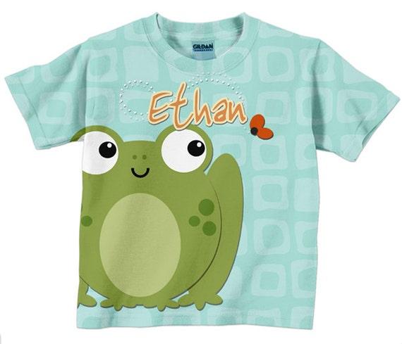 Frog Toddler Shirt Personalized Boy Girl T-Shirt, Custom Childrens Clothing