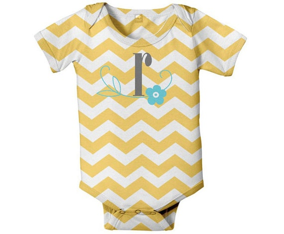 Baby Girl Chevron Bodysuit, Personalized Monogram Snapsuit