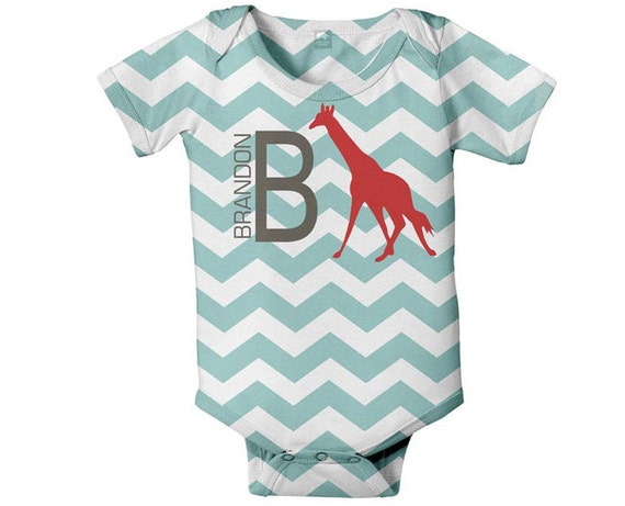Baby Boy Chevron Bodysuit, Personalized Red Giraffe One Piece Snapsuit, Custom Onepiece Baby Clothing