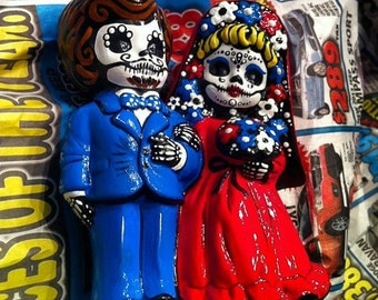 Made to order Day of the Dead hand painted ceramic wedding cake topper