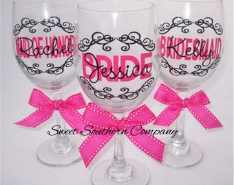 6 Personalized Bride and Bridesmaids Wine Glasses
