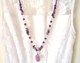 Long gemstone necklace, Amethyst, Crystal Quartz semiprecious stones necklace, Fluorite wire wrapped  pendant, Bohemian Chic