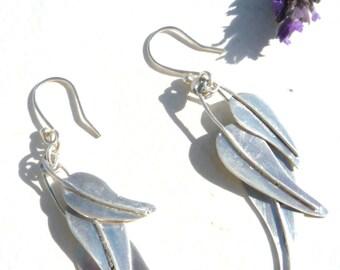 Sterling Silver earrings, Contemporary earrings, Dangle earrings, Dangling leaves earrings, Long earrings,Organic leaves earrings