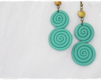 Boho Turquoise Earrings, Seafoam Swirl Earrings, Polymer Clay Earrings, Long Geometrical Earrings, Nautical Wedding Earrings, Pearl Jewelry