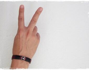 Men's Peace Bracelet, Leather Cuff Bracelet, Leather Pax Bracelet, Peace Sign Bracelet, Men's Bracelet Cuff, Leather Jewelry, Surfer Cuff