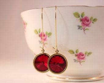 Ruby rivoli earrings - Swarovski ruby red crystal rivolis on gold kidney earwires