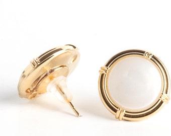 white gold earrings, stud earrings